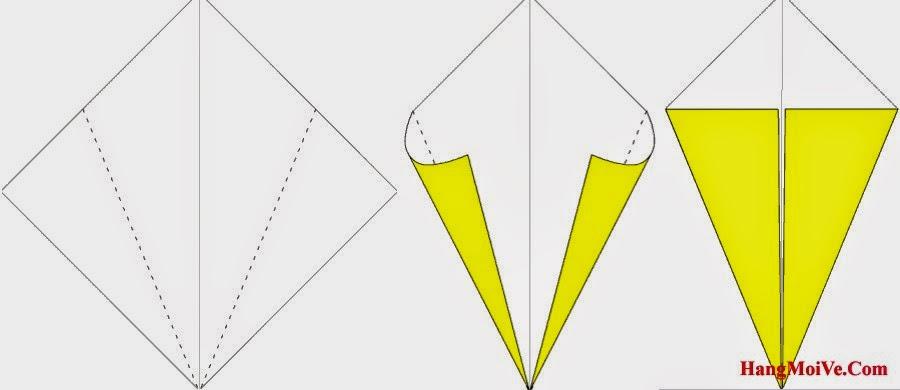 Bước 2: Gấp chéo 2 góc 2 bên từ ngoài vào phía trong (hình 2) ta được như hình 3.