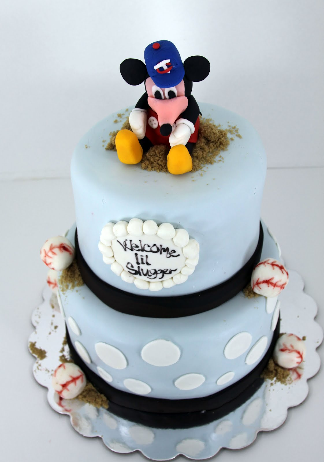 Mickey Mouse Baseball Baby Shower Cake Serves 25