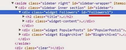 Cari ID widget kamu dengan menggunakan inspect elemen.