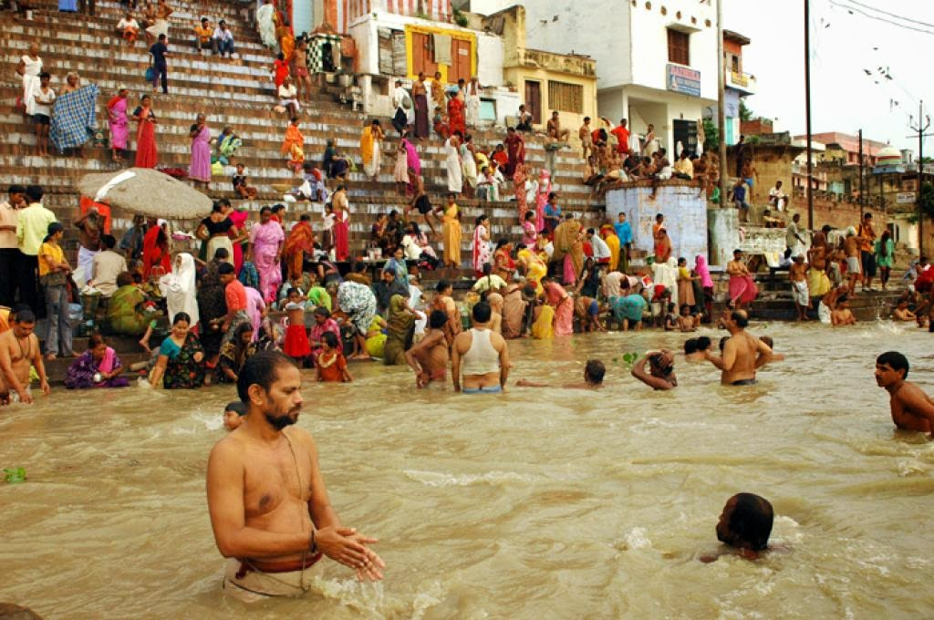 Taking bath in Holy River Ganga