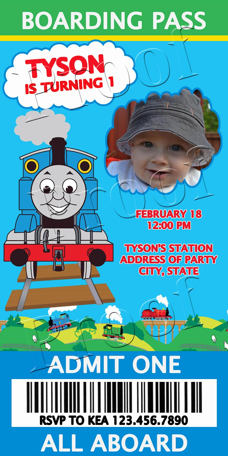 Fanci Prints by Tiffany: Thomas the Train - Birthday Ticket Invitation