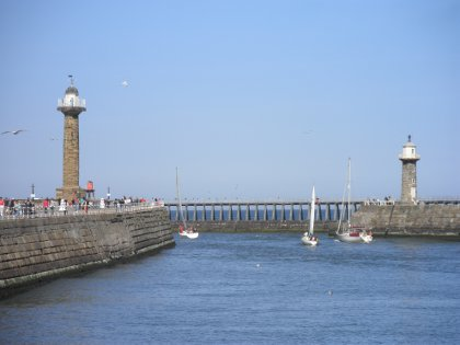 the lighthouse in Whitby harbour
