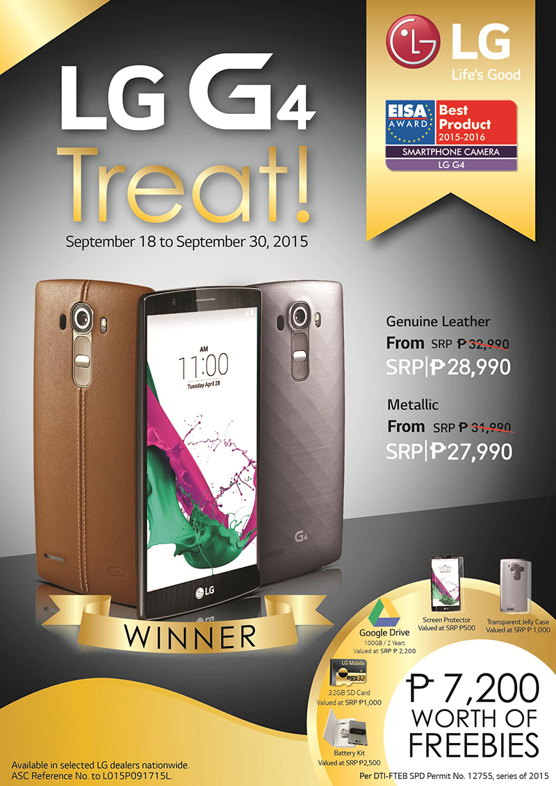 LG Wins Big At EISA 2015! Celebrates By Slashing 4000 Pesos Off LG G4 And Adds7200 Worth Of Freebies!