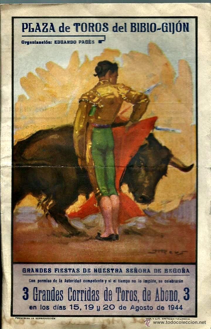 GIJON CARTEL DE TOROS 1944