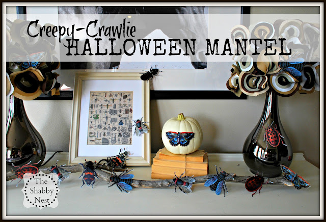 Creepy Crawlie Halloween Mantel by The Shabby Nest