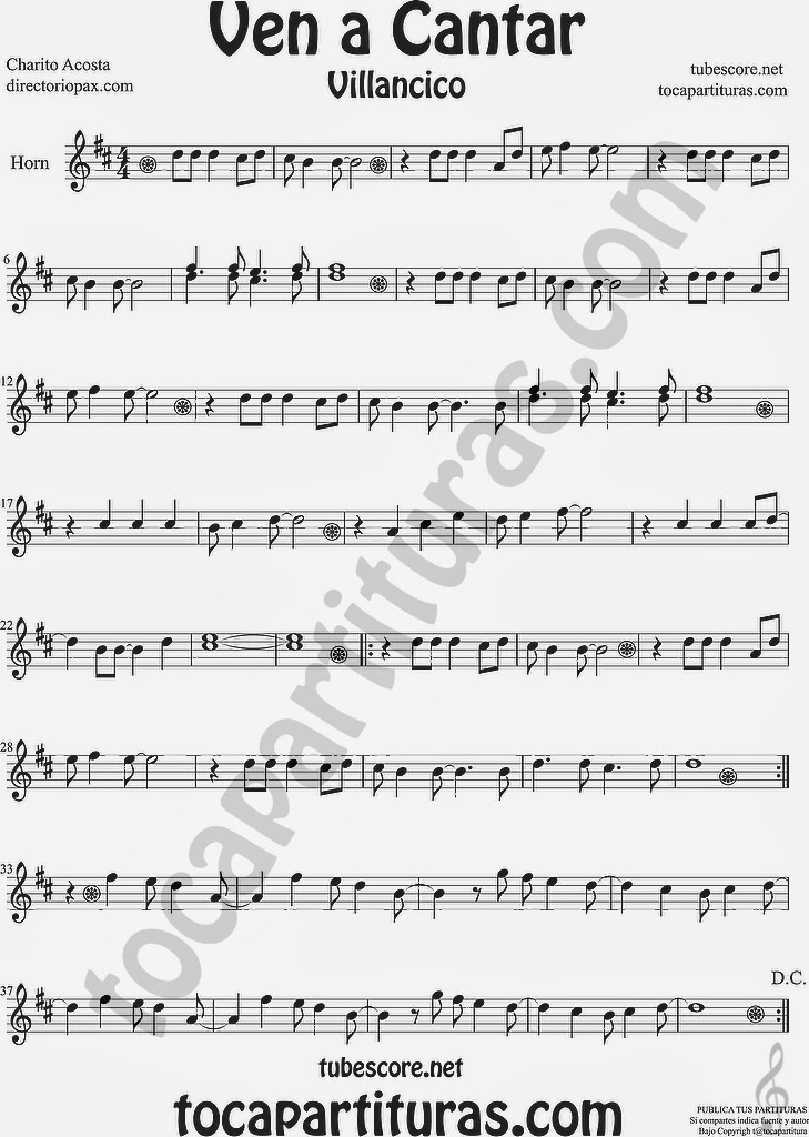 Ven a Cantar Partitura para Trompa y Corno en Mi bemol  Sheet Music for Horn and French Horn Music Scores