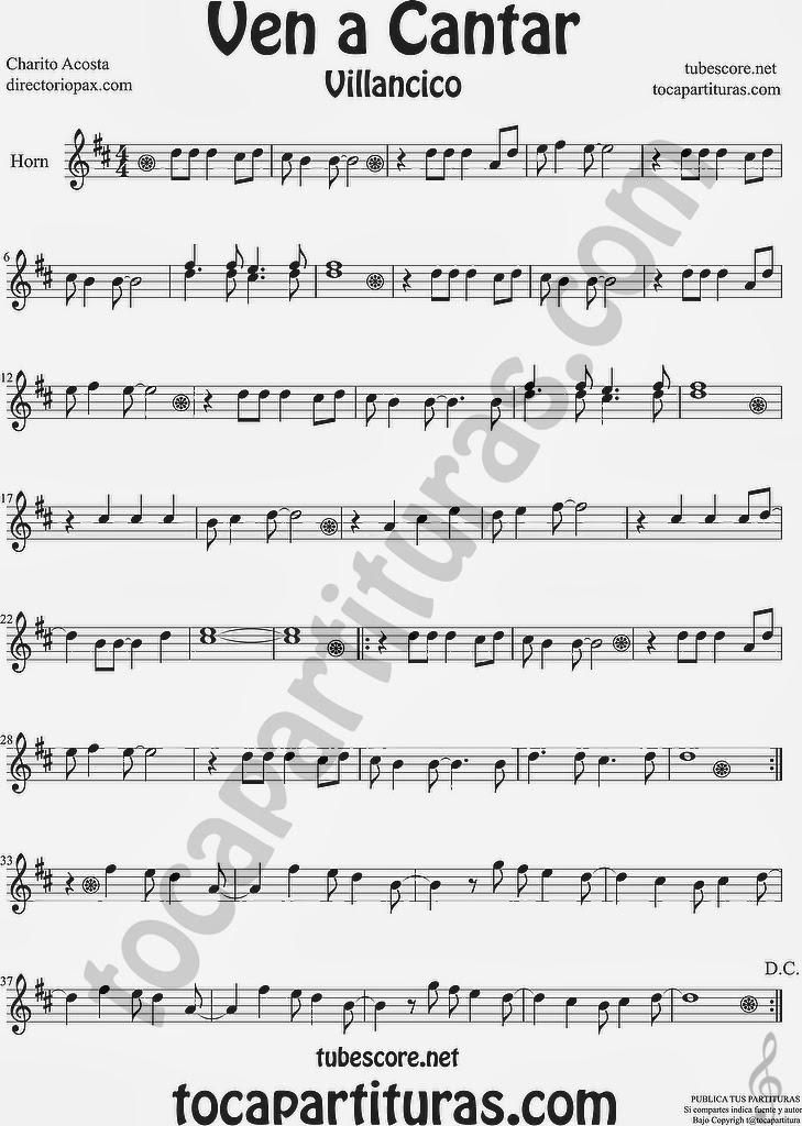 Ven a Cantar Partitura para Trompa y Corno en Mi bemol  Sheet Music for Horn and French Horn Music Scores