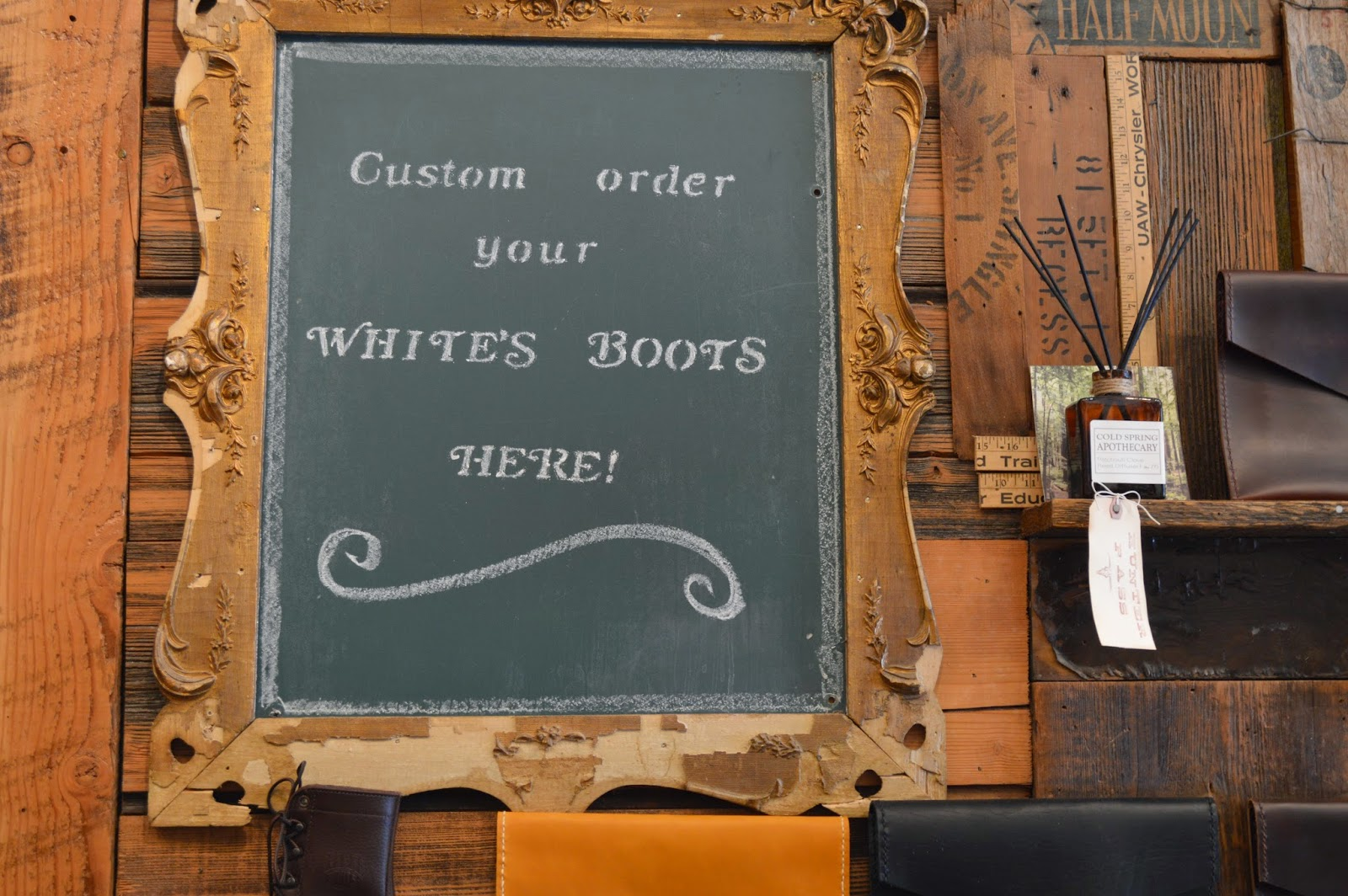 Animal Traffic's hand written sign for ordering White's Boots