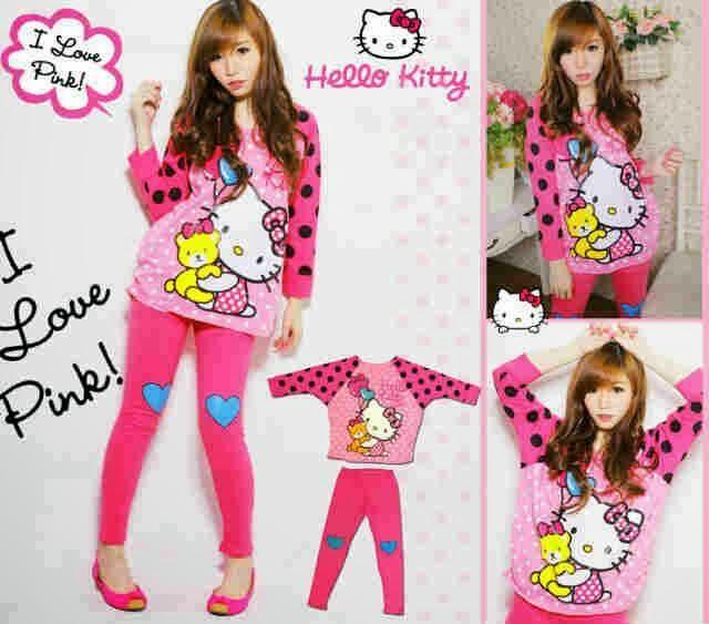 Gambar Stelan Baju Hello Kitty Lucu Celana Panjang Pink