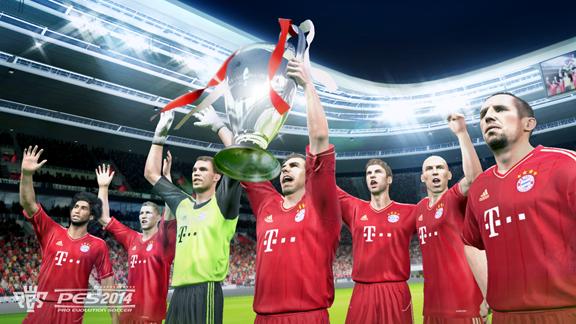 A atual campeã europeia levantando o trófeu da UEFA Champions League também no PES 2014