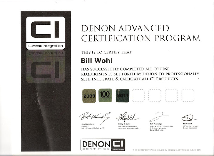 Denon Certification 2009, 2010, 2011.