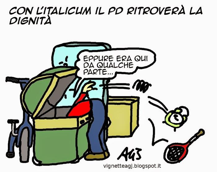 pd, renzi, italicum, satira, vignetta