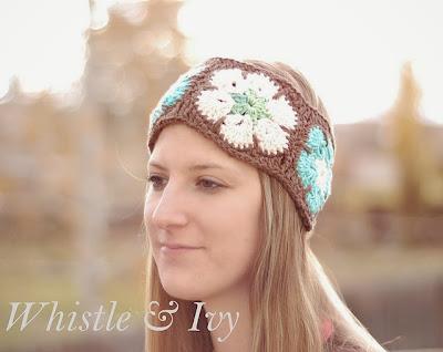 free crochet pattern african flower earwarmer
