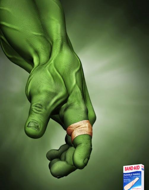 Ilustración de Hulk en publicidad.
