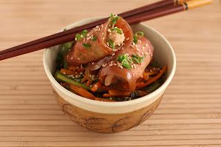 padlizsán kimcsi kovászos padlizsán tejsavas erjesztés hal harcsa tekercs koreai konyha répa retek szezámmag olaj pörkölt szezámmagolaj