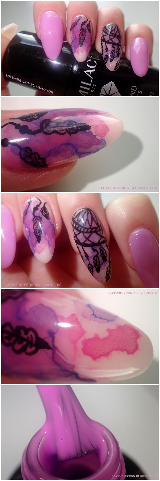 blur effect nails dreamcatcher, łapacz snów