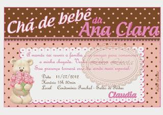 convites cha de bebe rosa e marrom