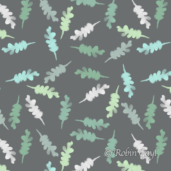 Watercolor Painted Oak Leaves Pattern Gray green teal white