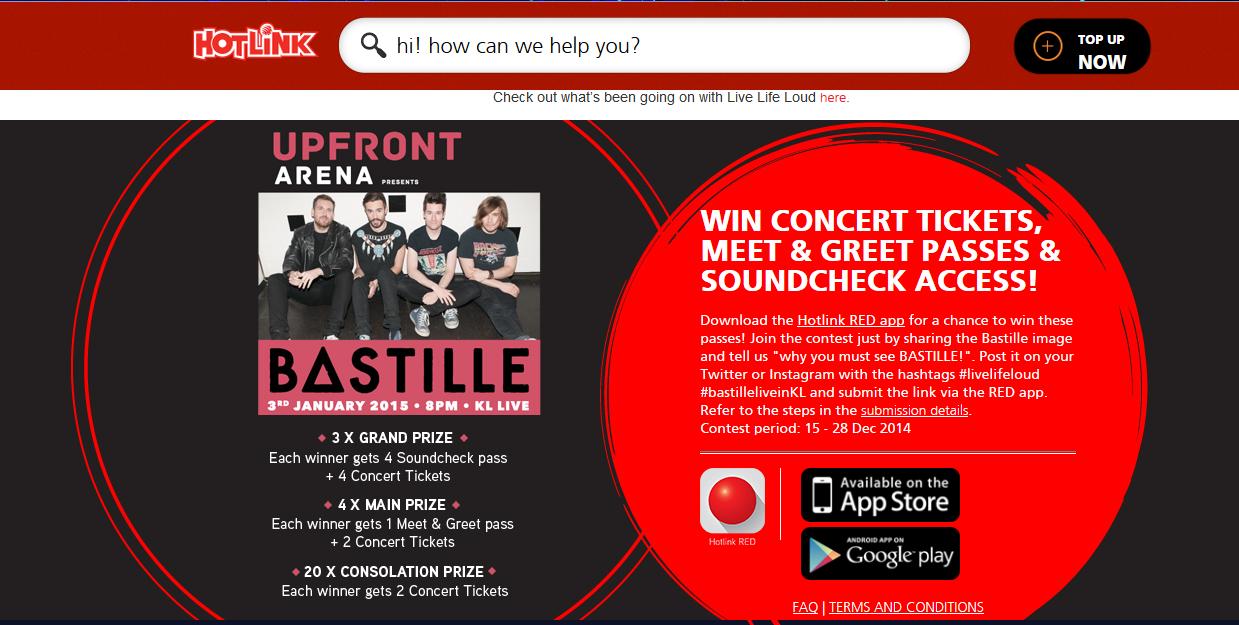 Konsert Bastille di KL Live - Life Centre bersama Hotlink