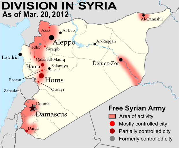 map of syria showing control by the rebel free syrian army as of march 20