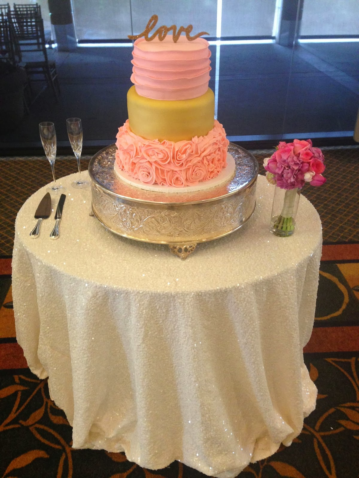 Jacqueline s Sweet Shop Pink and Gold Wedding Cake