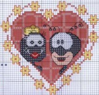 Gráfico para bordado de Formigas no coração