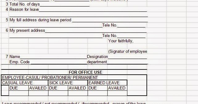 Doc595880 Leave Applications for Office Sick Leave – Leave Application Format for Employee