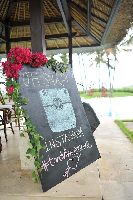 instagram sign with hot pink bougainvilleas