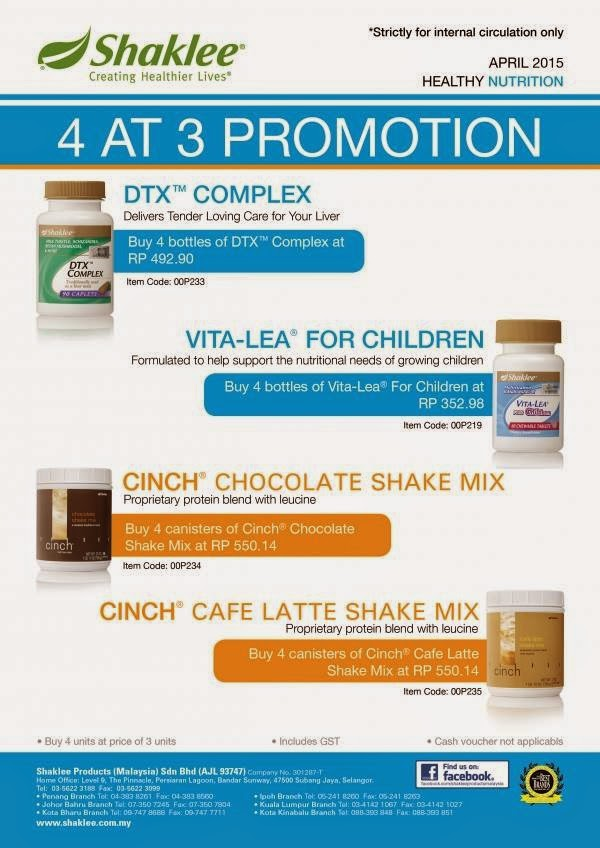 PROMOSI SHAKLEE MAC 2015 VITA-LEA FOR CHILDREN, DTX COMPLEX & CINCH CHOCOLATECAFE LATTE SHAKE MIX (BELI 3 PERCUMA 1)