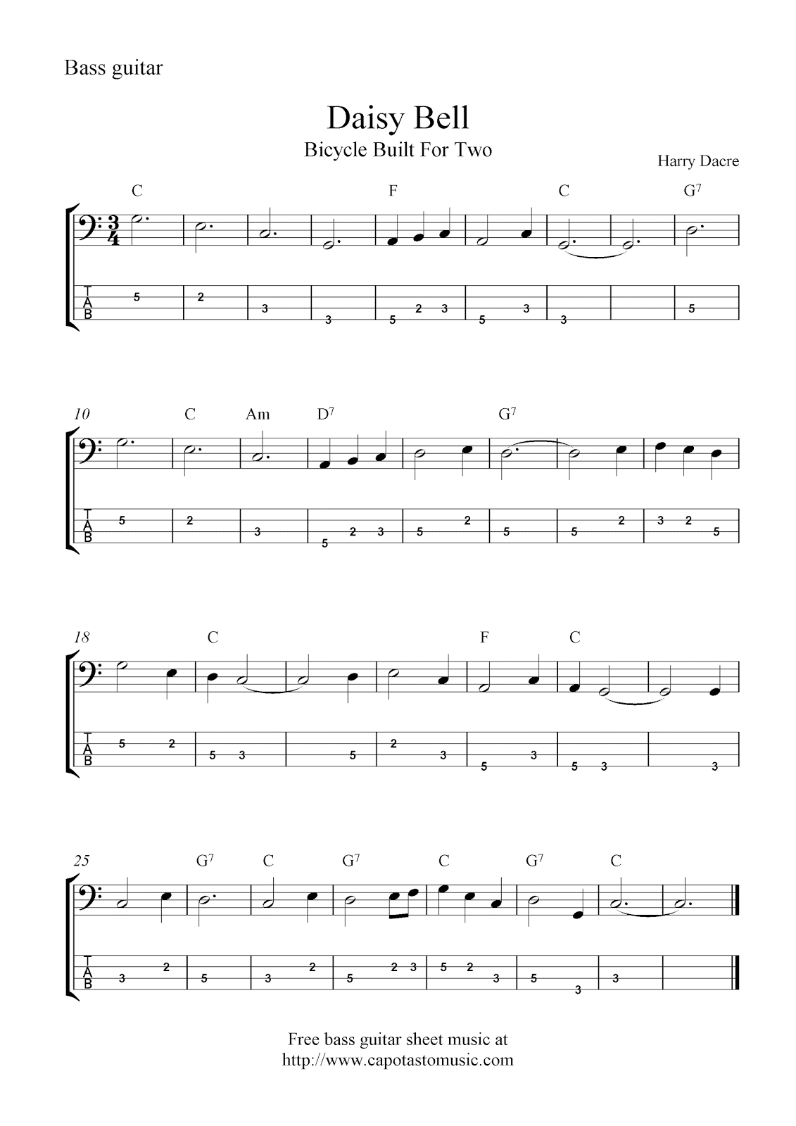 bass guitar sheet music how to read