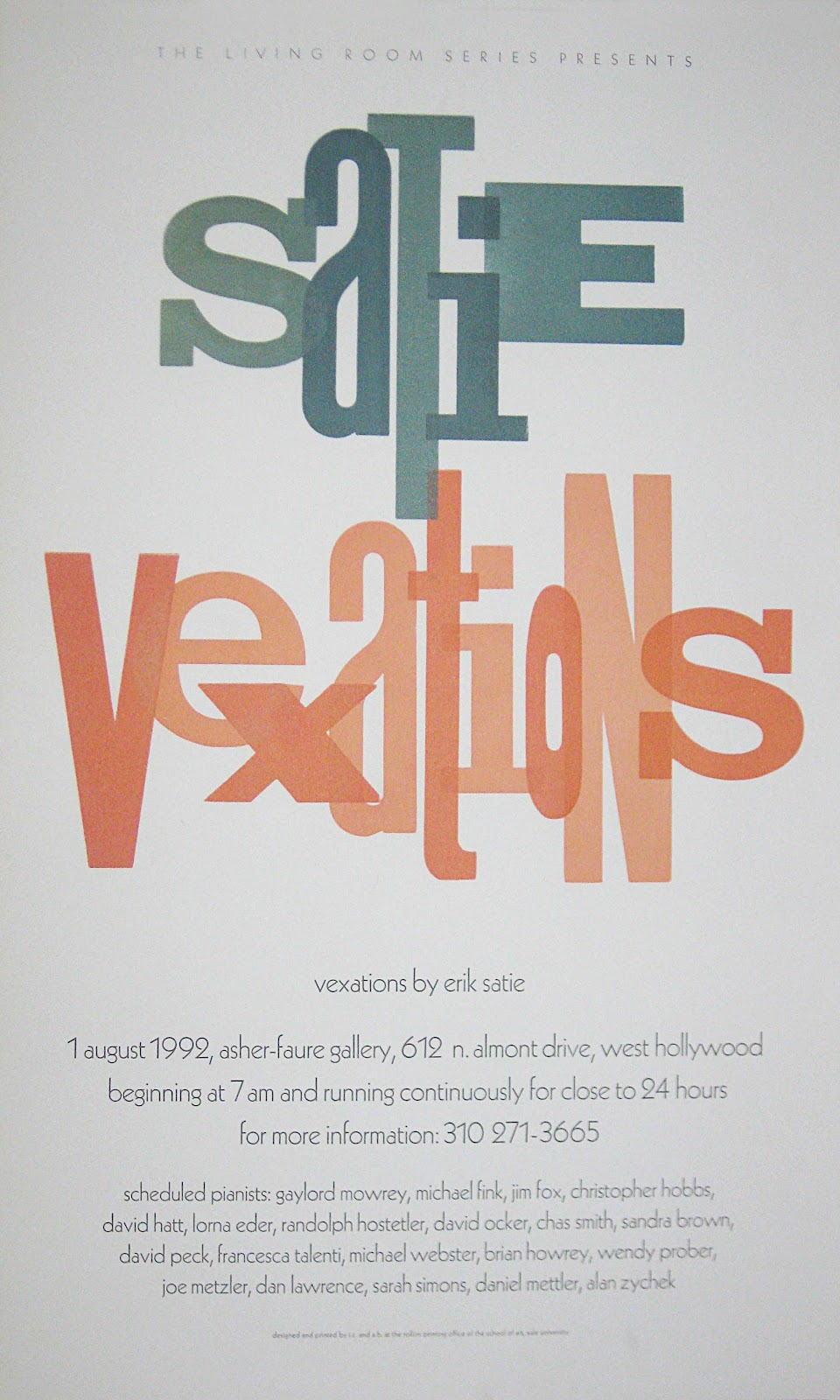 concert poster for Living Room Series performance of Erik Satie's Vexations - August 1 1992