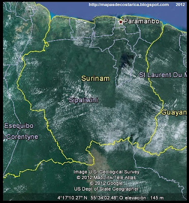 Mapa de SURINAM, Google Earth