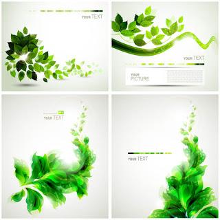 緑の葉で描く春の背景 spring backgrounds with green leaves イラスト素材