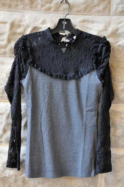 Lace mock turtle neck with grey knit body.  $ 78