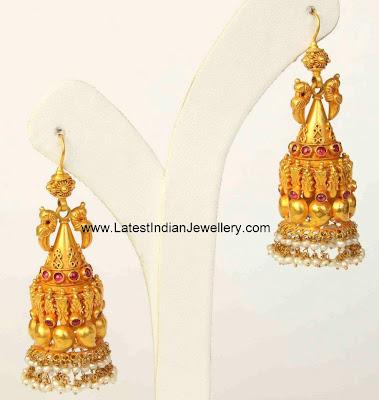 Hoop Style Gold Jhumkas