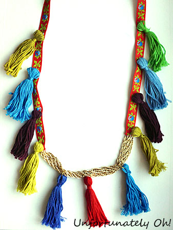 ribbon chain and tassel necklace tutorial