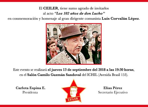 """INVITACIÓN CEILER AL ACTO """"LOS 102 AÑOS DE DON LUCHO"""""""