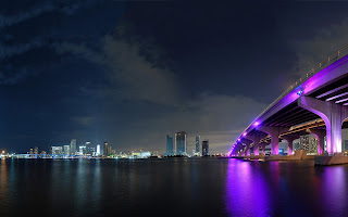 City Bridge Miami Night Lights HD Wallpaper