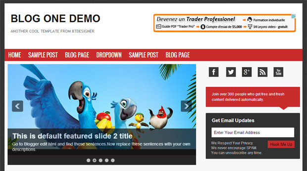 Blog One Theme Blogger Template by BTDesigner