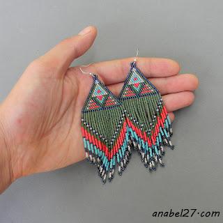бисерные сережки с бахромой Украина