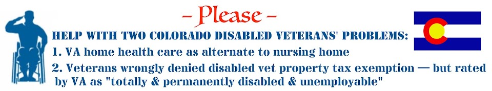 Colorado Disabled Veterans' 2 Problems: home healthcare & property taxes