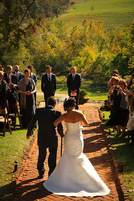 father walking bride down isle mount vernon farm whysall photography