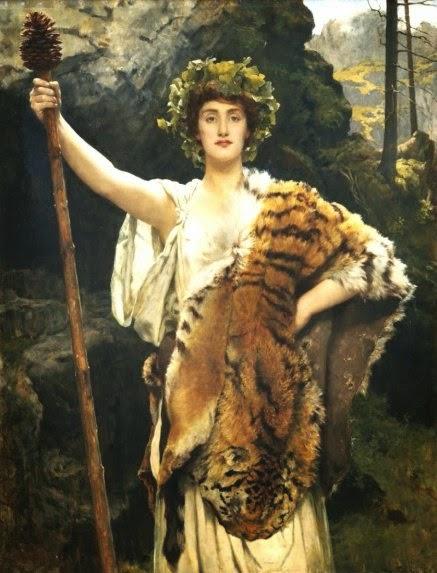 La sacerdotisa de Baco (nombre latino de Dionisos), obra del prerrafaelista John Collier (1850-1934)