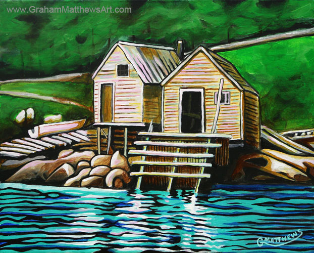 Uncle Harrys Stage - Pacquet, Newfoundland Painting
