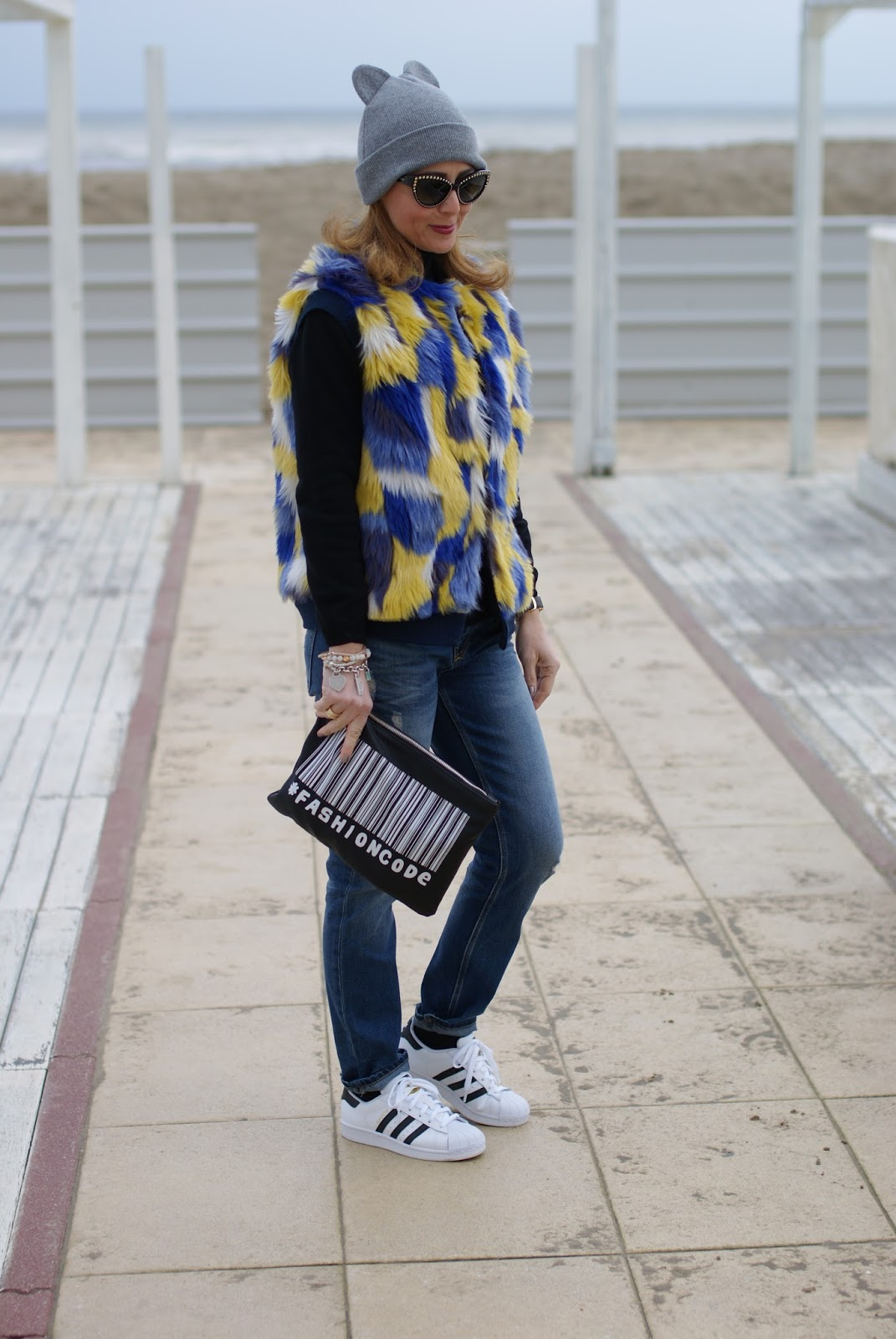 Adidas Superstar, faux fur vest and cat ear beanie on Fashion and Cookies fashion blog, fashion blogger style