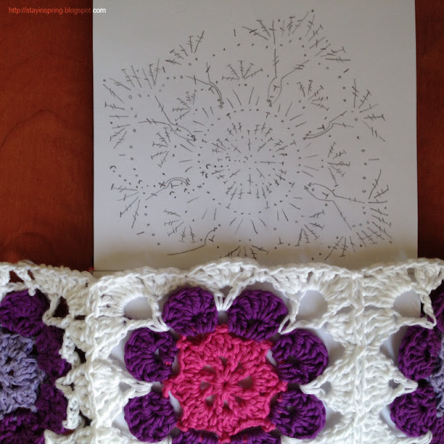 Pattern of a granny square with flower