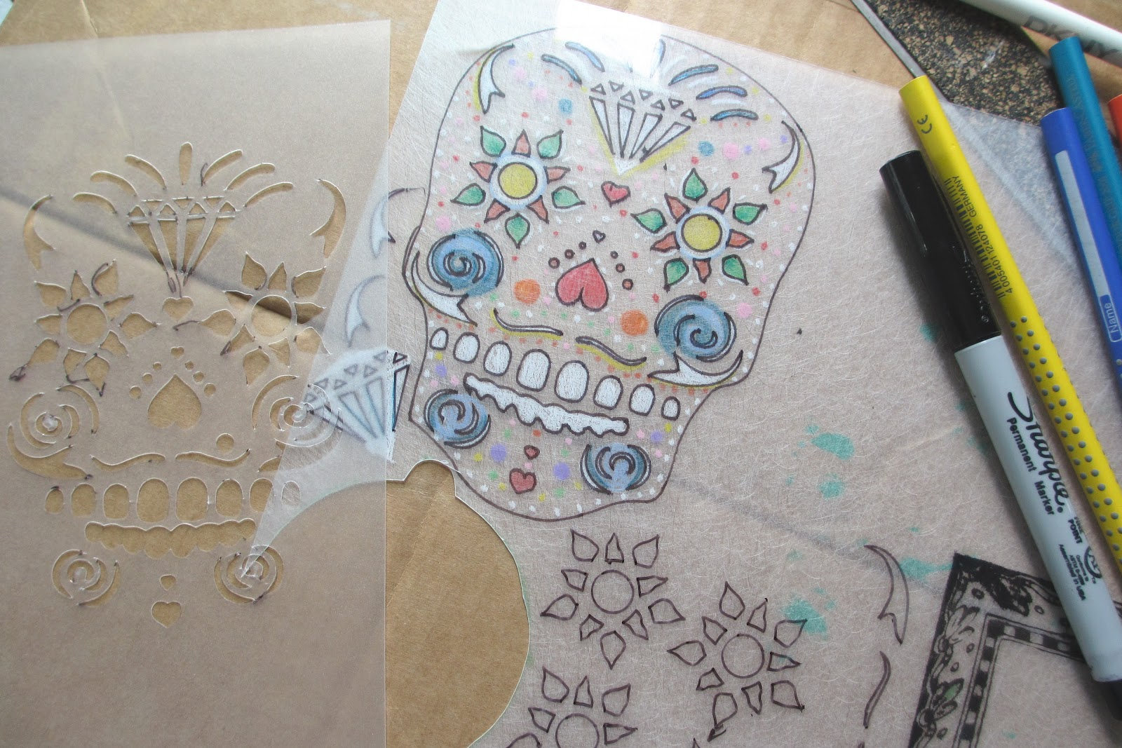... by one of the new stencils this great looking day of the dead skull