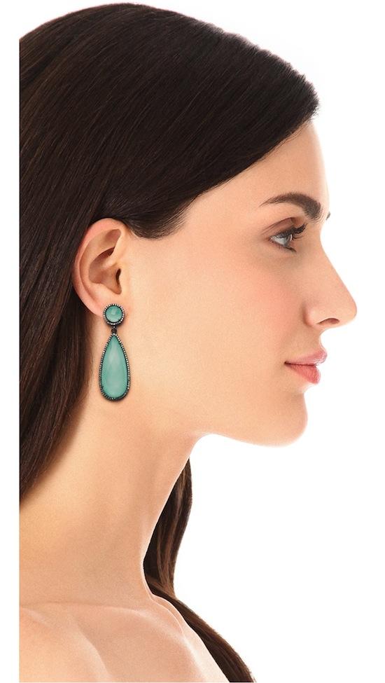 ONE by Susan Hanover Crown Double Drop Earrings Blue Opal