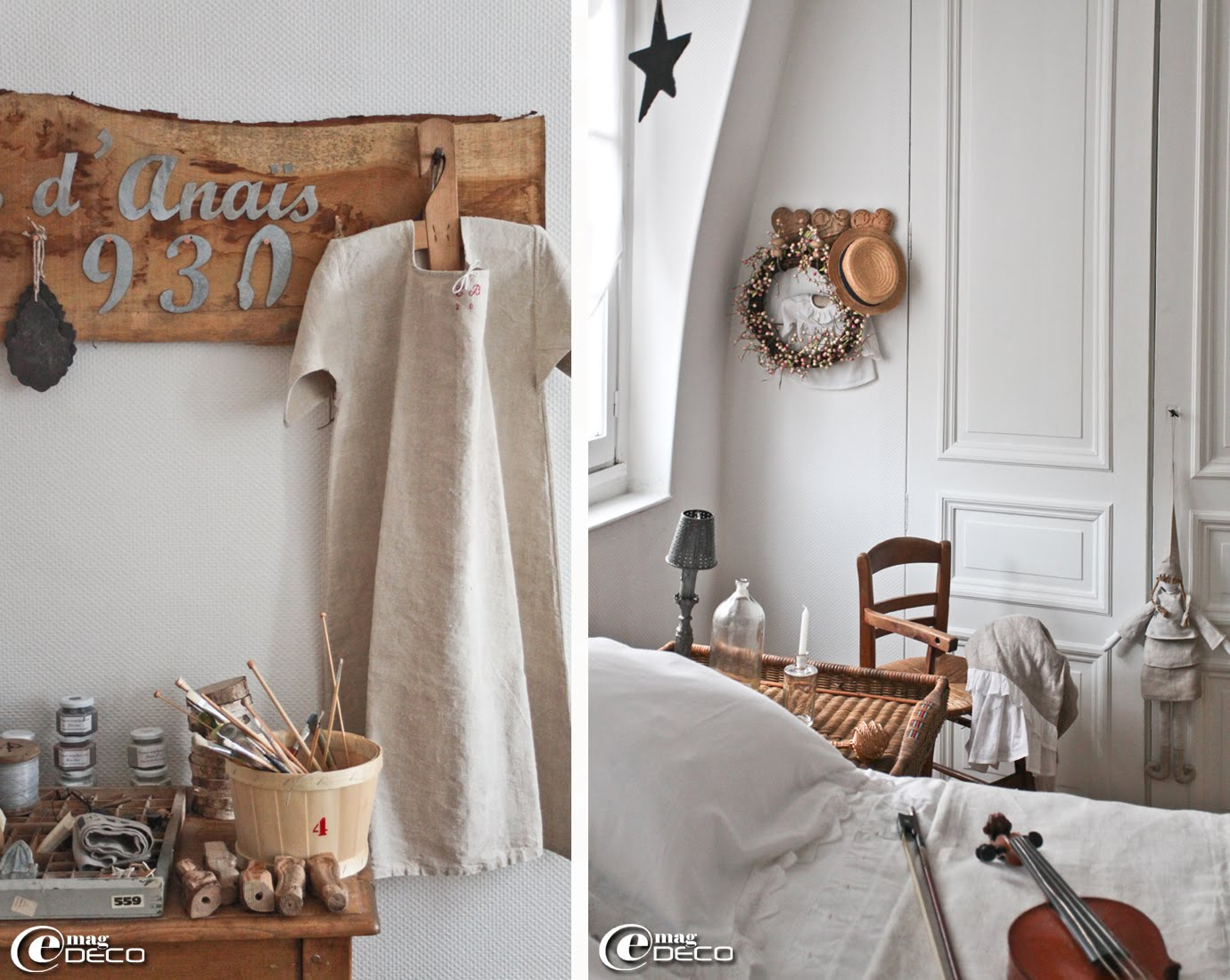 Décor d'un atelier et d'une chambre chez Chantal, auteure du blog 'L'Univers d'Anaïs'