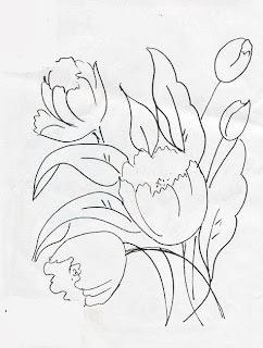 desenho de tulipas para pintar